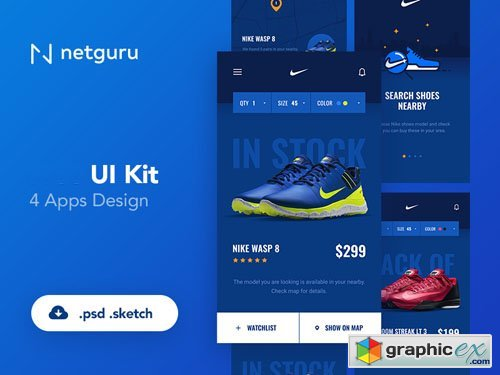 Shoes eCommerce Mobile App UI Kit PSD Template