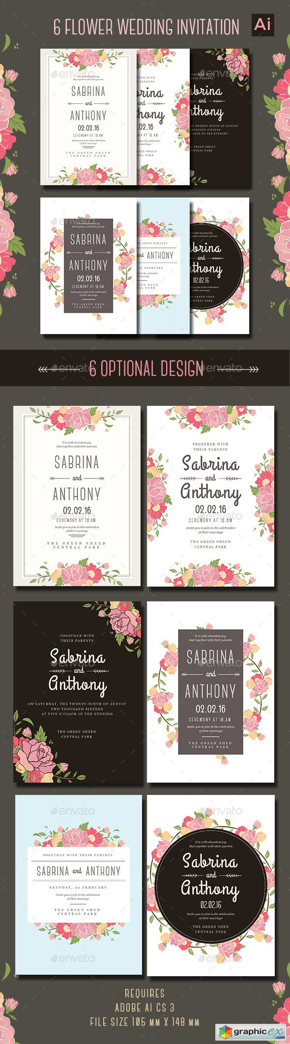 6 Floral Wedding Invitation