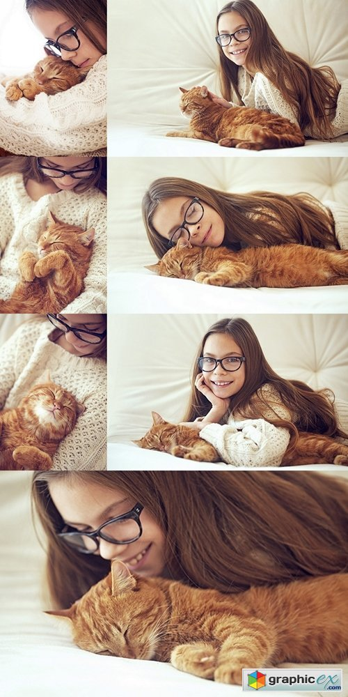 Girl and Cat sleeping