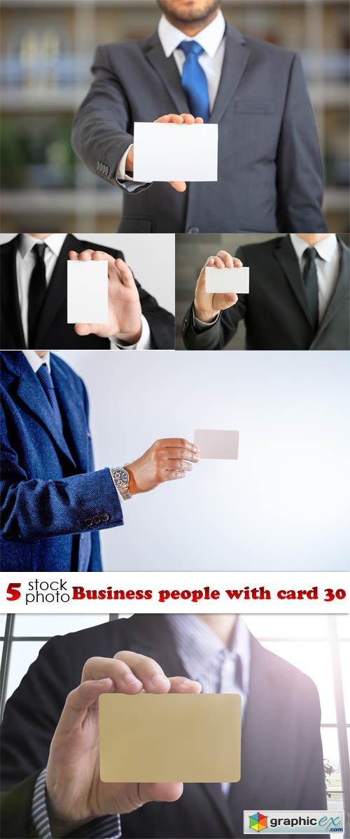 Business people with card 30