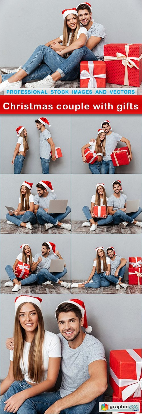Christmas couple with gifts - 8 UHQ JPEG