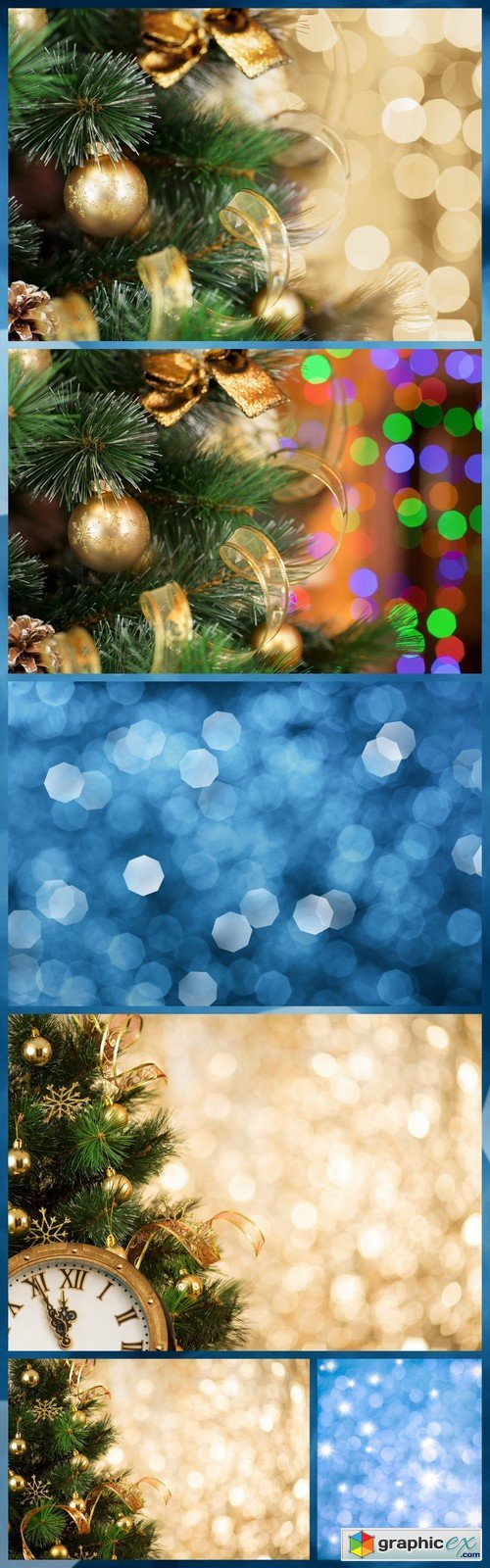 Christmas tree background with gold blurred light 6X JPEG