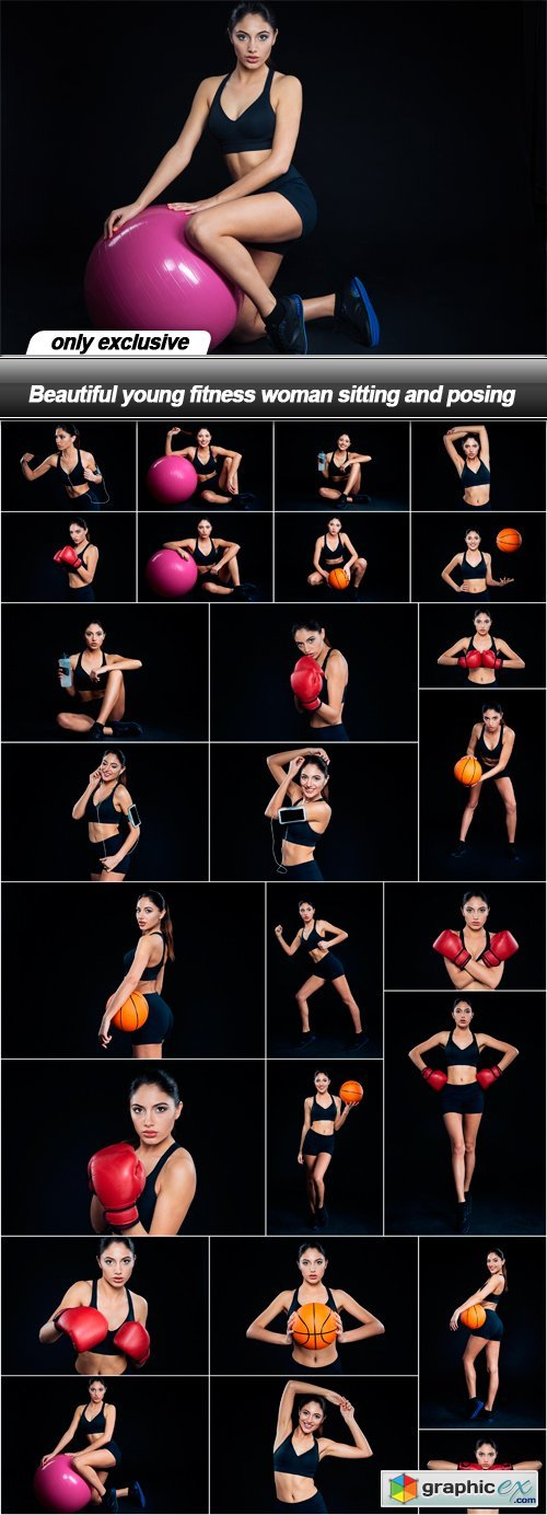 Beautiful young fitness woman sitting and posing - 26 UHQ JPEG