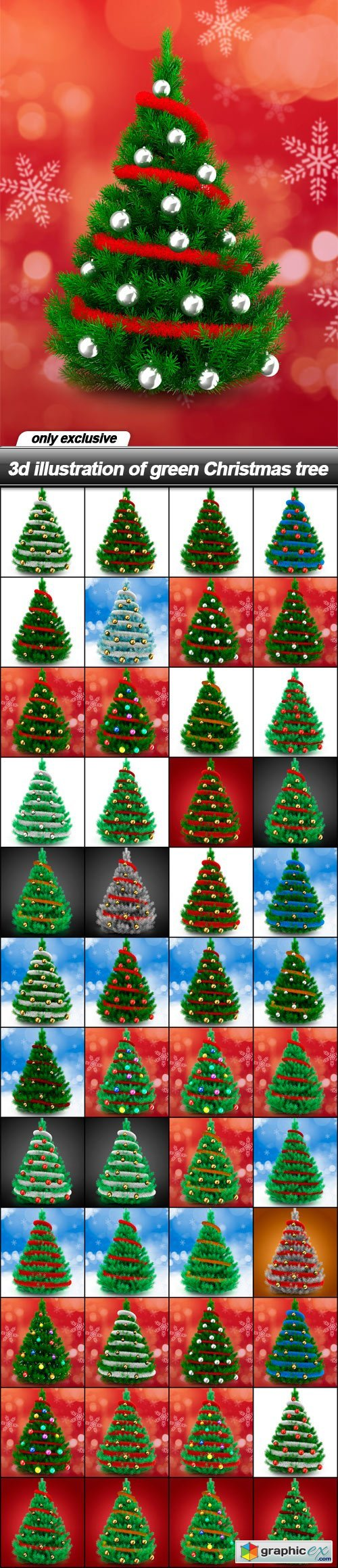 3d illustration of green Christmas tree - 48 UHQ JPEG