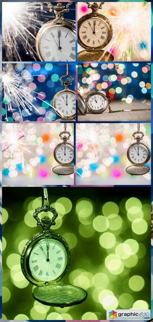 New year clock on abstract background 7X JPEG