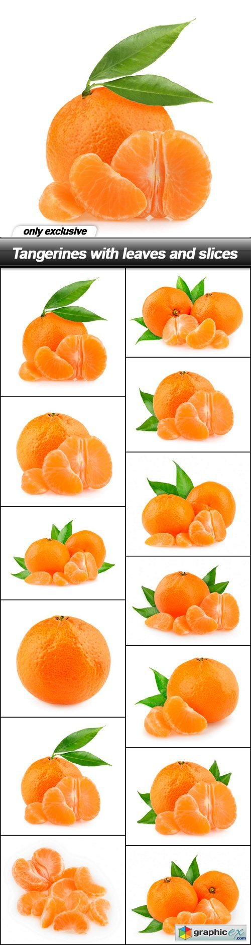 Tangerines with leaves and slices - 13 UHQ JPEG