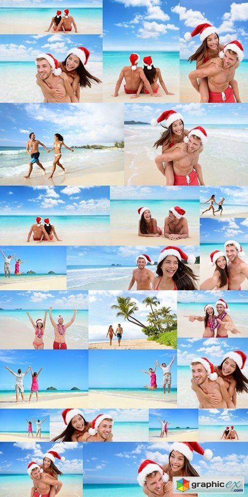 Christmas vacation beach couple banner panorama. Wide paradise beach background with Asian bikini woman having couple fun laughing in christmas santa hat