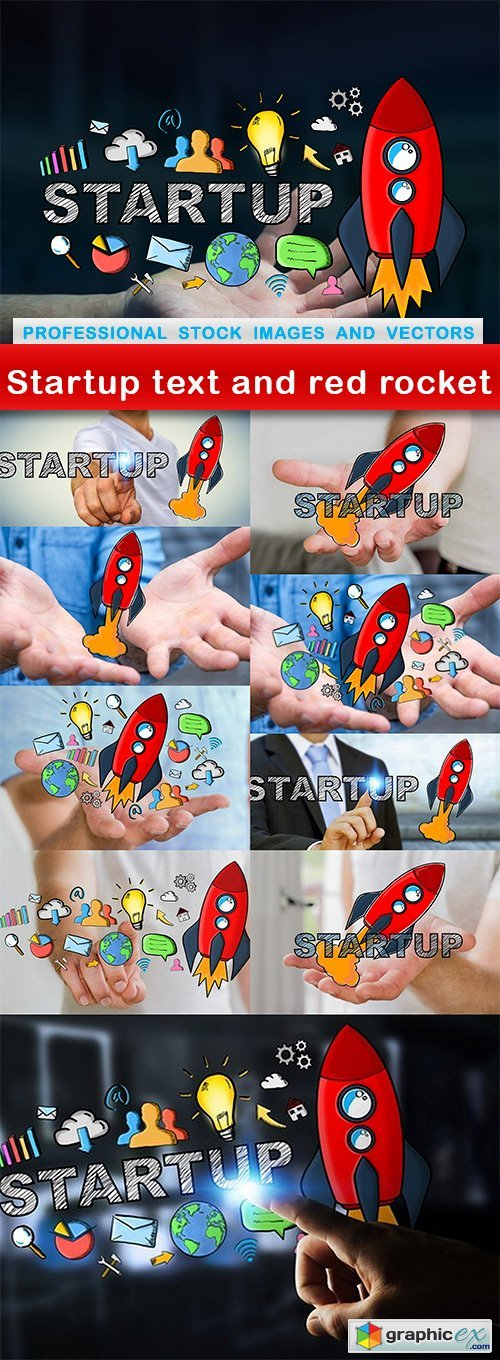 Startup text and red rocket - 10 UHQ JPEG