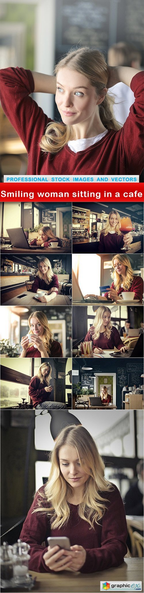 Smiling woman sitting in a cafe - 10 UHQ JPEG
