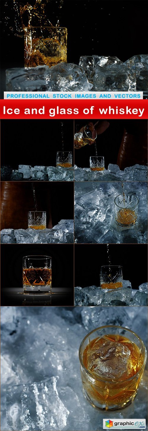 Ice and glass of whiskey - 8 UHQ JPEG