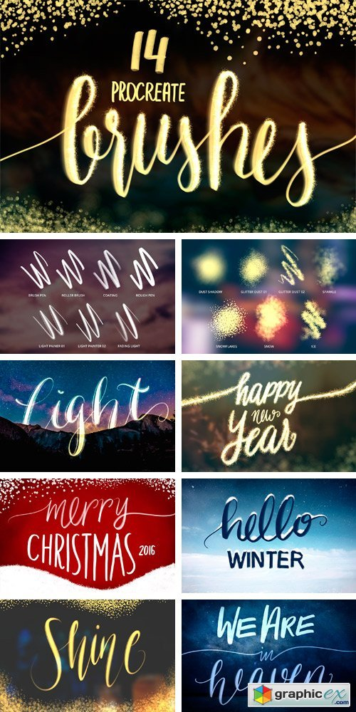 14 Procreate Brushes Lettering Light