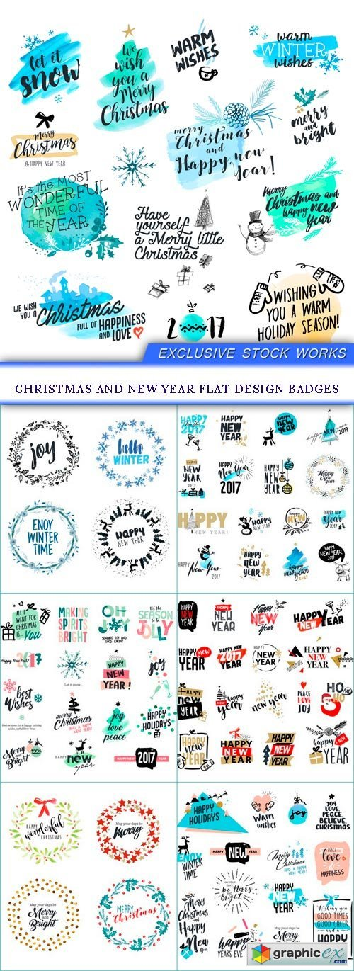 Christmas and New Year flat design badges 7X EPS