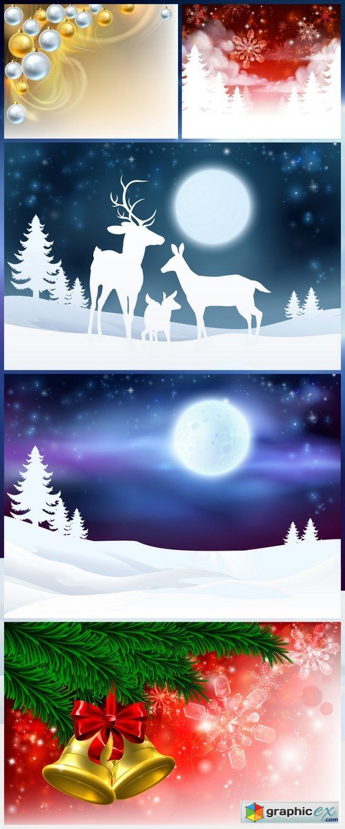 Winter Scene Background 5X EPS