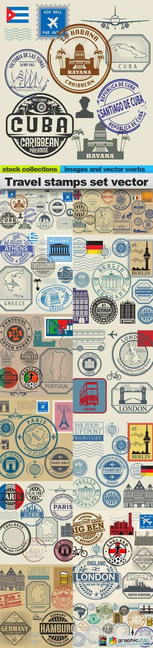 Travel stamps set vector 2, 15 x EPS