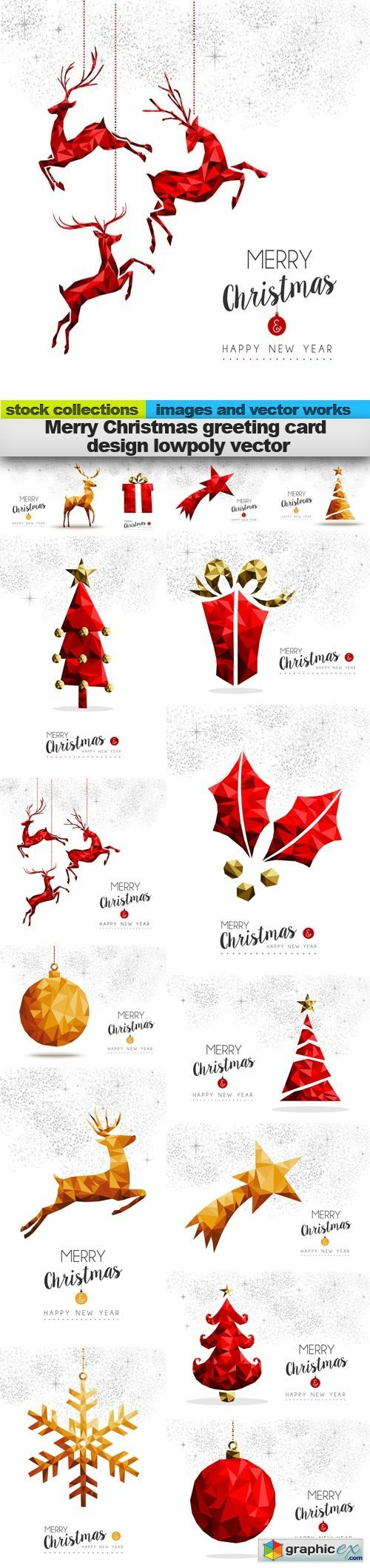 Merry Christmas greeting card design lowpoly vector, 15 x EPS