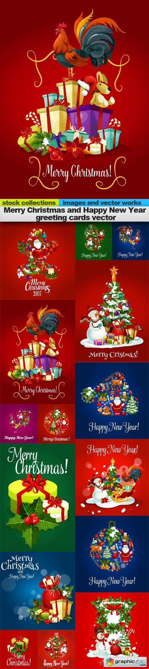 Merry Christmas and Happy New Year greeting cards vector, 15 x EPS