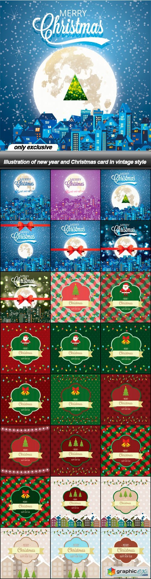 Illustration of new year and Christmas card in vintage style - 24 EPS
