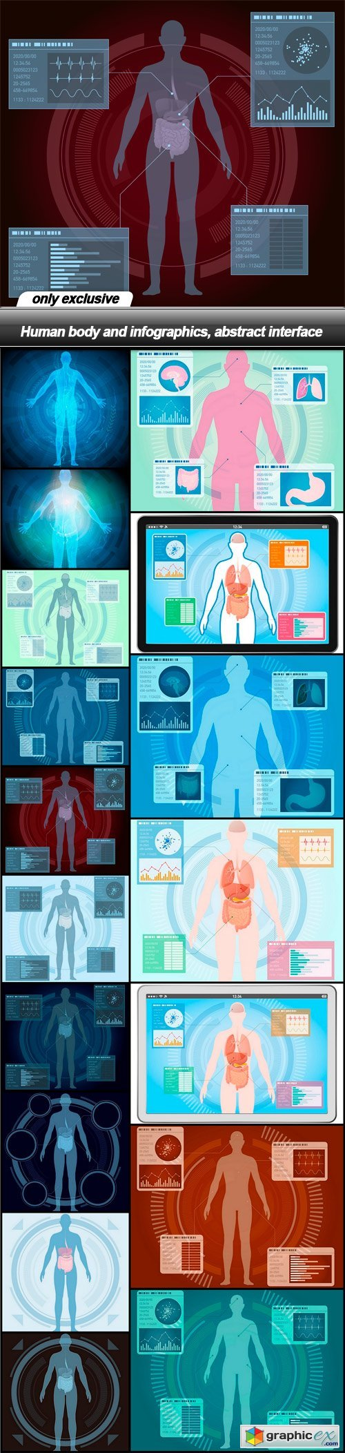 Human body and infographics, abstract interface - 17 EPS