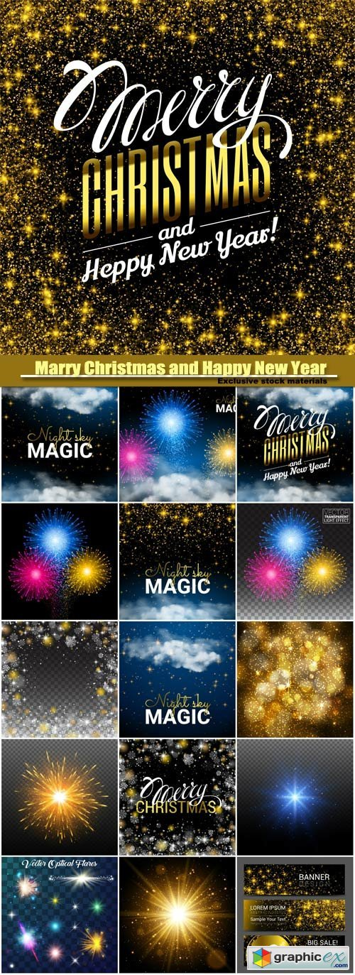 Marry Christmas and Happy New Year vector, magic Christmas cloud, shining Starsand night sky abstract