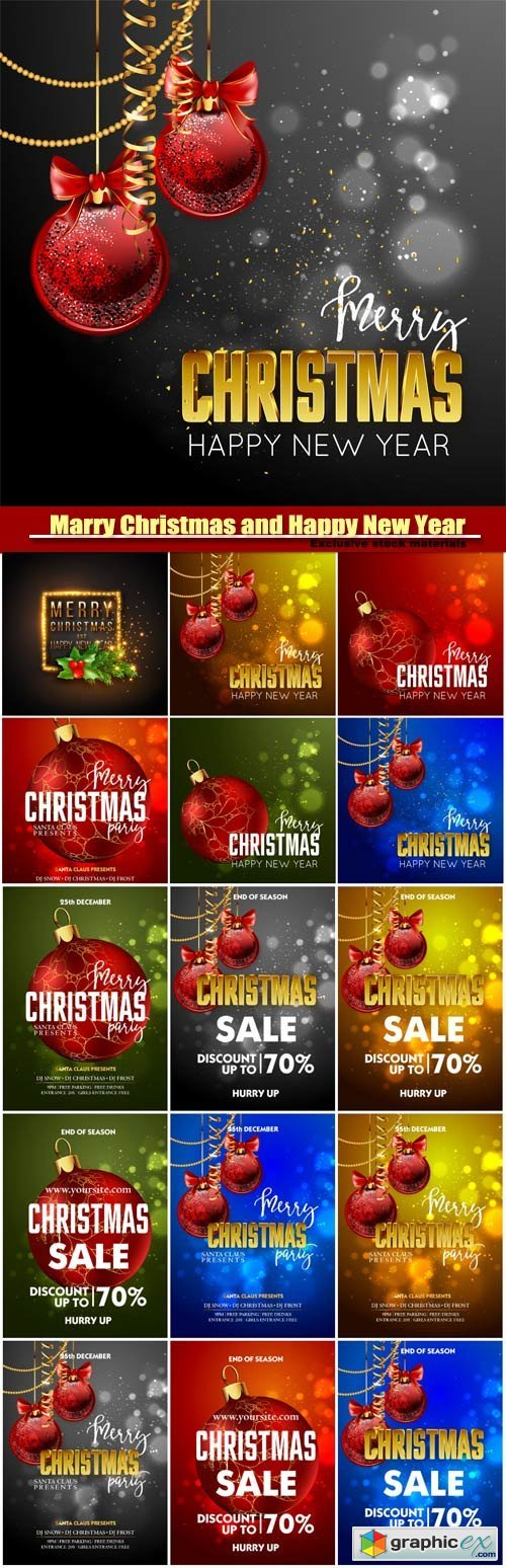 Marry Christmas and Happy New Year vector, Christmas Party design template with decoration balls