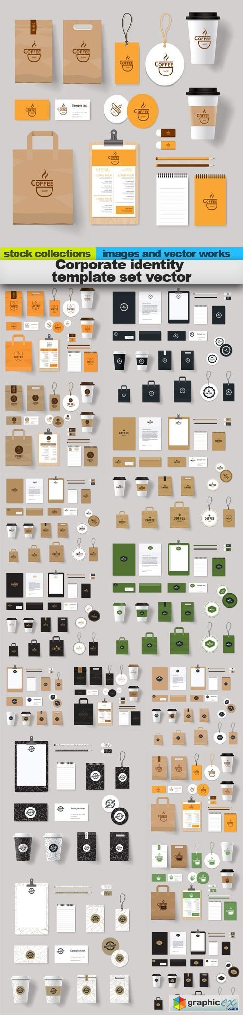 Corporate identity template set vector, 15 x EPS