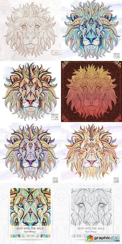 Patterned head of the lion on the grunge background. African indian totem tattoo design