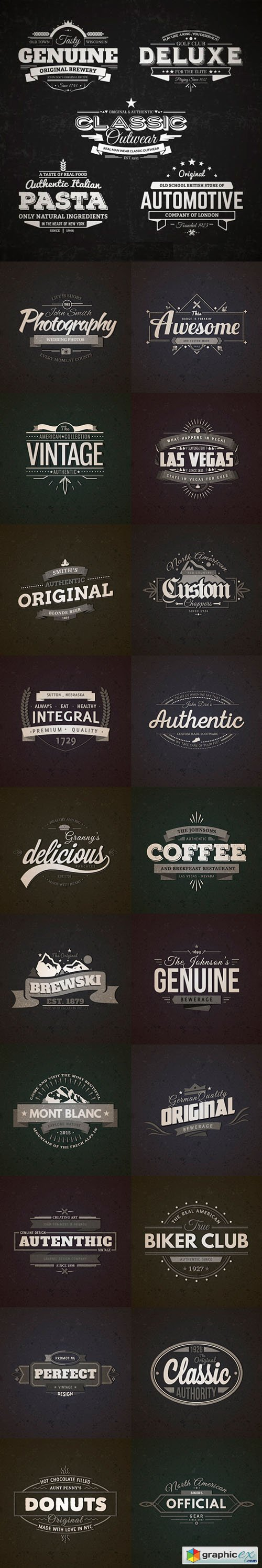 25 Retro Vintage Badges in Vector