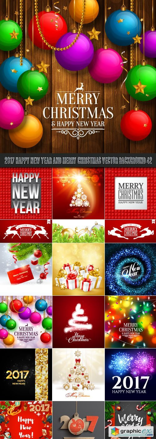 2017 Happy New Year and Merry Christmas vector background 42