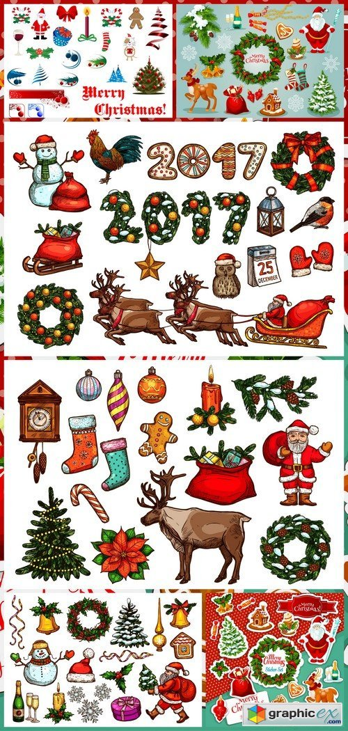 Christmas and New Year holiday symbol 6X EPS