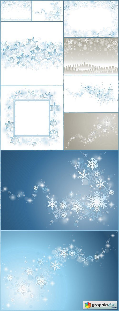 Snowflakes winter background 10X EPS