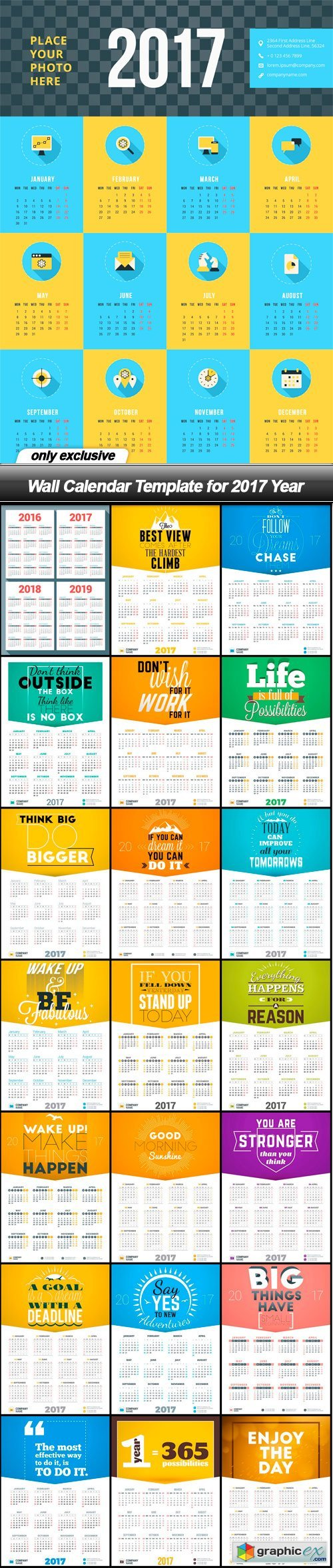 wall calendar template for 2017 year 22 eps free download vector