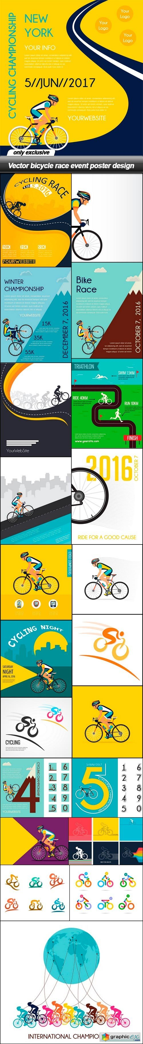 Bicycle race event poster design - 22 EPS