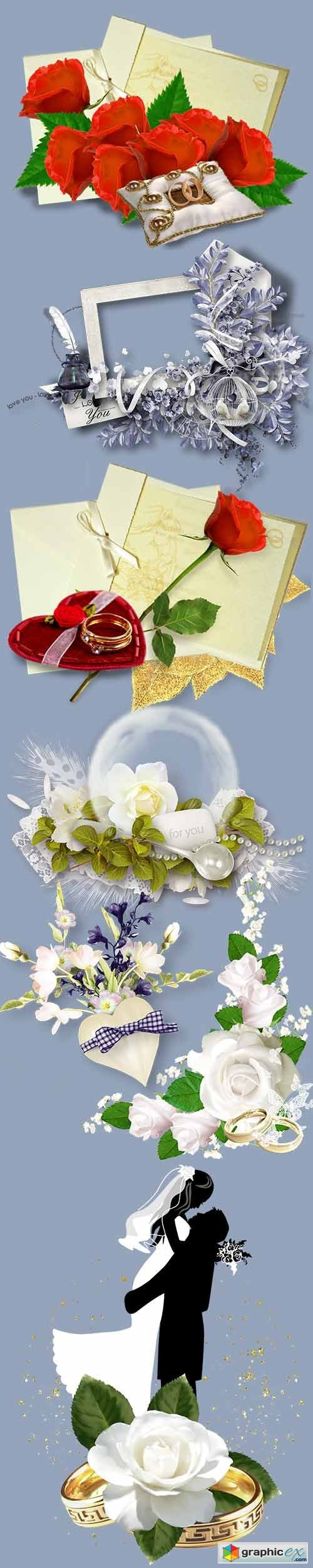 Clusters and png cliparts for wedding design