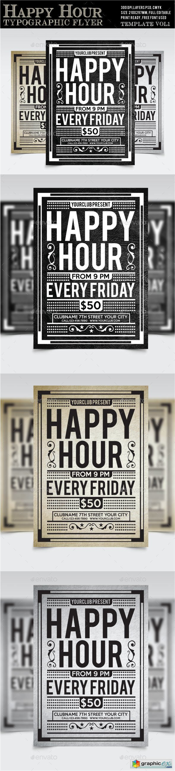 Happy Hour Flyer Vol1 Free Download Vector Stock Image Photoshop Icon