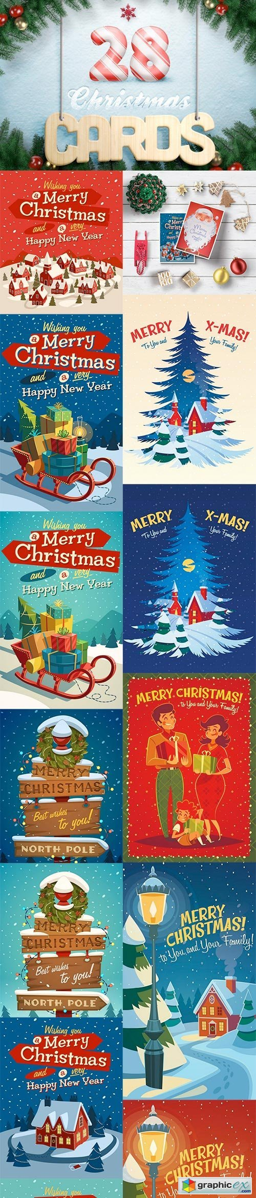 28 Christmas Cards Illustrations