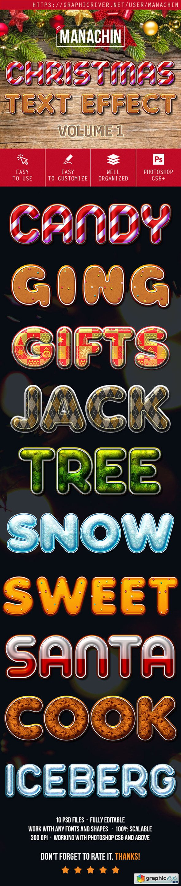 One Click Premium Christmas Text Effects Vol1
