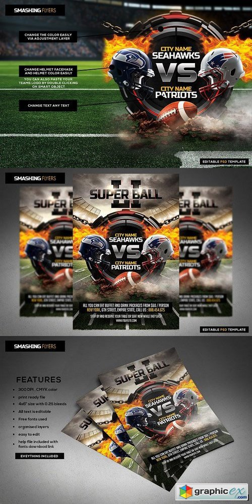 American Football Flyer Template Free Download Vector Stock Image