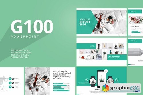g100 magazine powerpoint template free download vector stock image