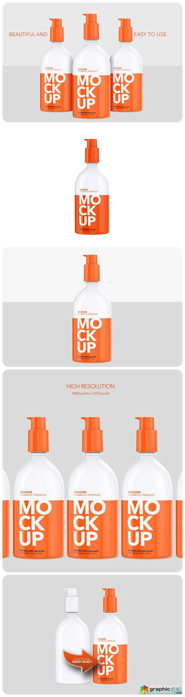 Plastic Cosmetic Pump Bottle 500ml