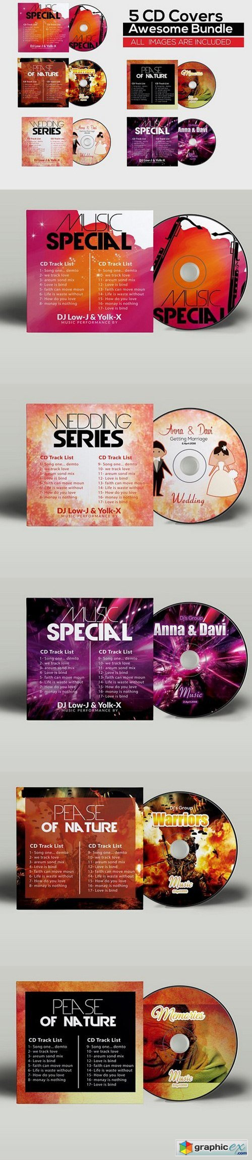 5 CD Cover Psd Bundle