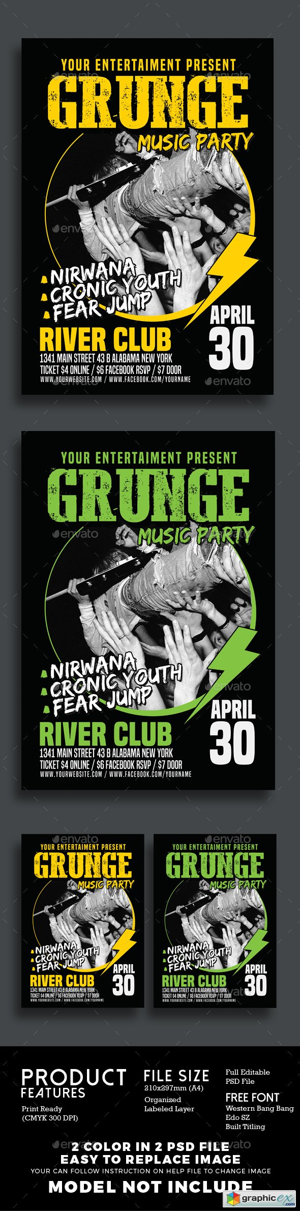 Grunge Music Party Poster Flyer