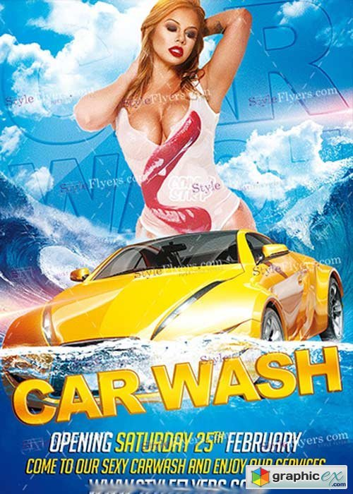 Car Wash Psd V8 Flyer Template Free Download Vector Stock Image