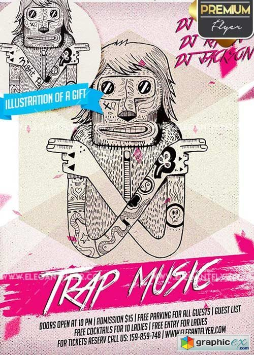 Trap Music V10 Flyer PSD Template + Facebook Cover » Free