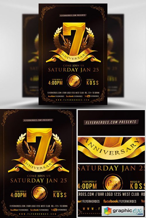 Business Anniversary Flyer Template Free Download Vector Stock