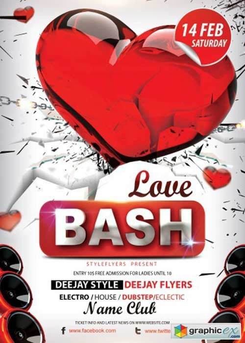 Love Bash V4 Psd Flyer Template With Facebook Cover Free