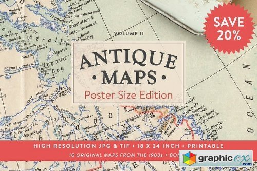 *NEW* 20% OFF Antique Maps 18x24in