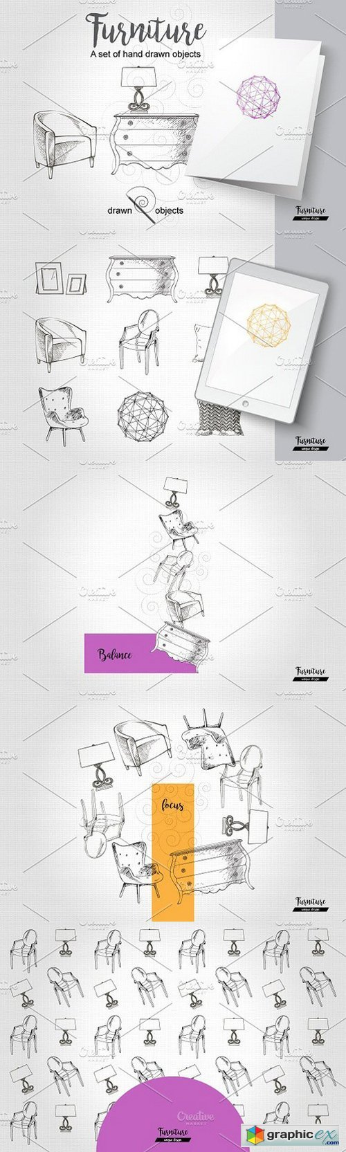 Furniture Hand drawn Vector set