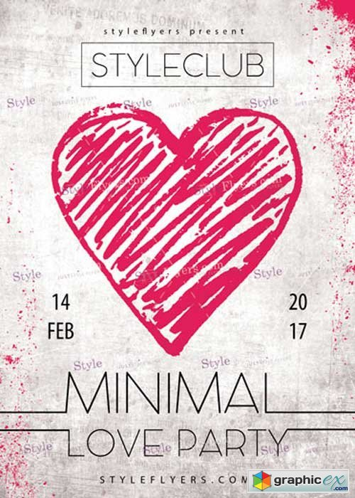 Minimal Love Party Psd V4 Flyer Template Free Download