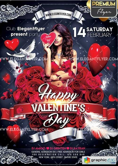 Happy Valentines Day V23 Flyer Psd Template Facebook Cover Free