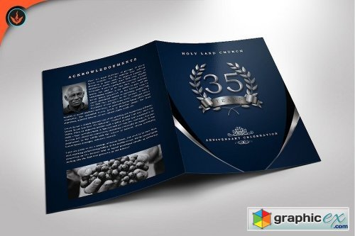 Silver Navy Blue Anniversary Program